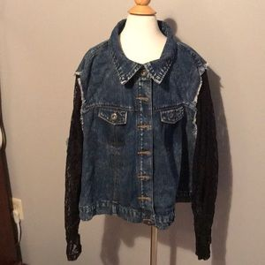 Jackets & Blazers - Women's jeans jacket with black lace sleeves
